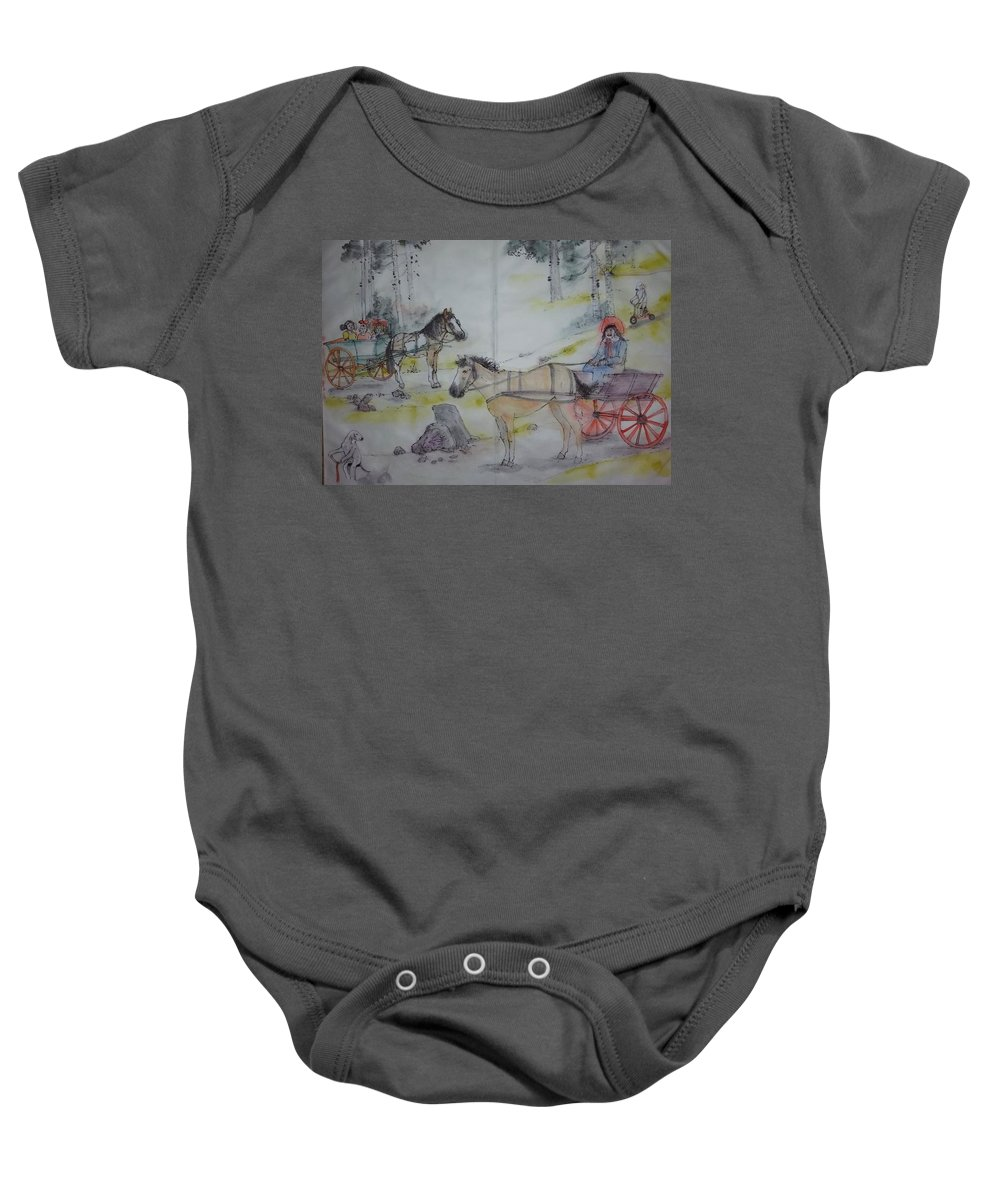 Equines. Carts. Children. Dogs. Bedlington Terrier. Landscape Baby Onesie featuring the painting Here Come The Equines Album by Debbi Saccomanno Chan