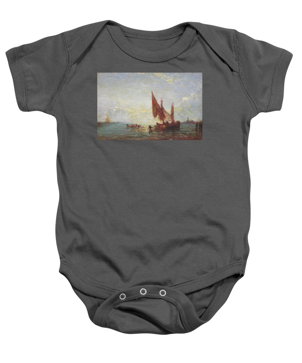 Felix Ziem (felix Francois Georges Philibert Ziem)(french 1821-1911) Baby Onesie featuring the painting Seascape by MotionAge Designs