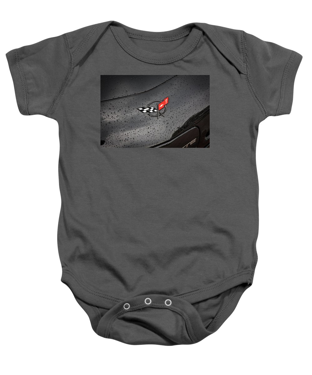2002 Corvette Baby Onesie featuring the photograph 2002 Corvette Ls1 Painted Bw by Rich Franco