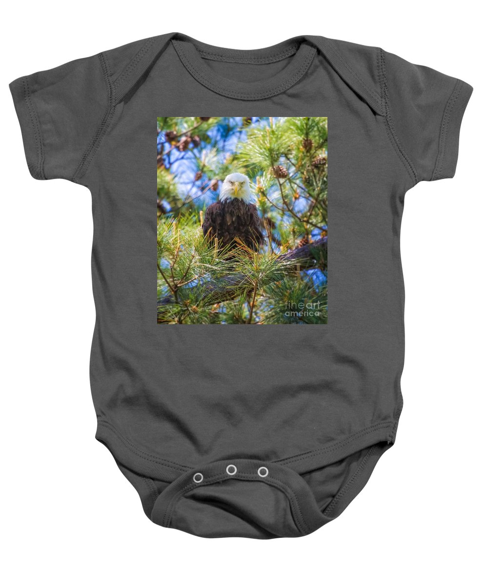Bald Eagle Baby Onesie featuring the photograph Bald Eagle by Warrena J Barnerd