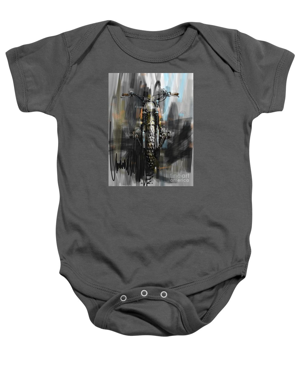 Bmw Baby Onesie featuring the digital art Bmw Motorcycle by Peter Fogg
