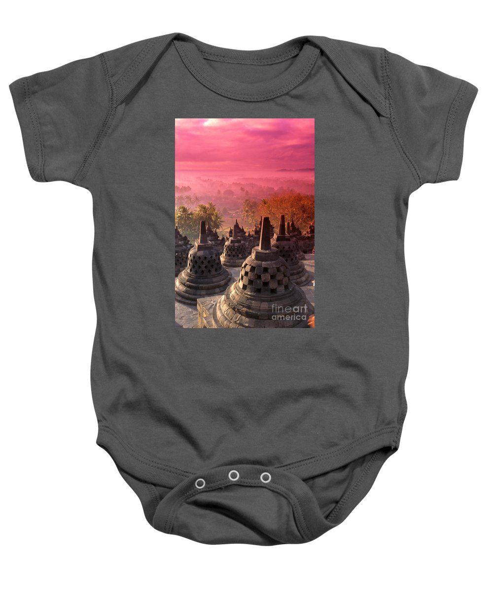 Ancient Baby Onesie featuring the photograph Borobudor Temple by Gloria & Richard Maschmeyer - Printscapes