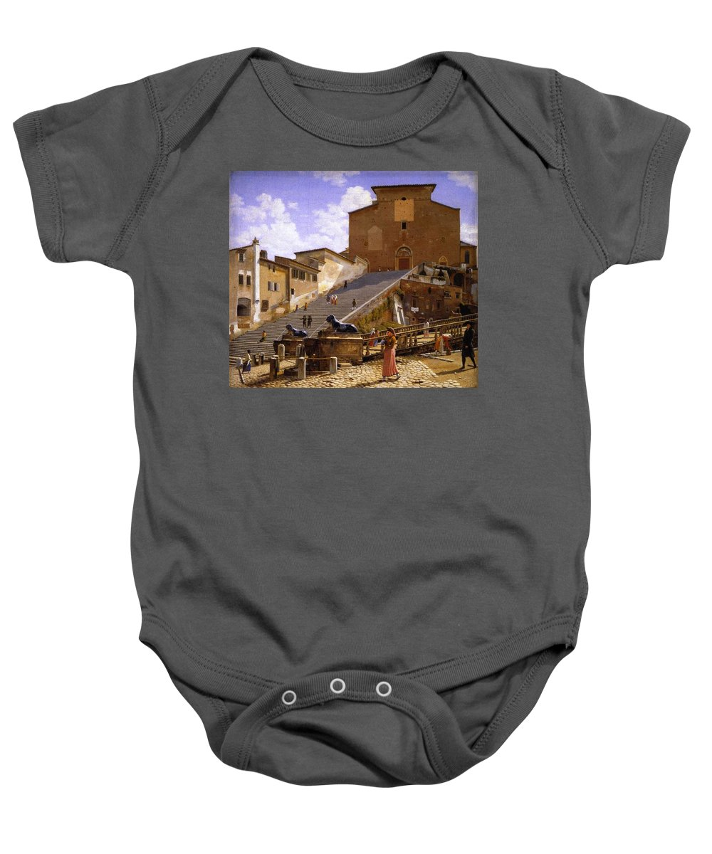 Nature Baby Onesie featuring the painting 3 Christoffer Wilhelm Eckersberg   The Marble Steps Leading Up To Santa Maria In Aracoeli In Rome by Artistic Rifki