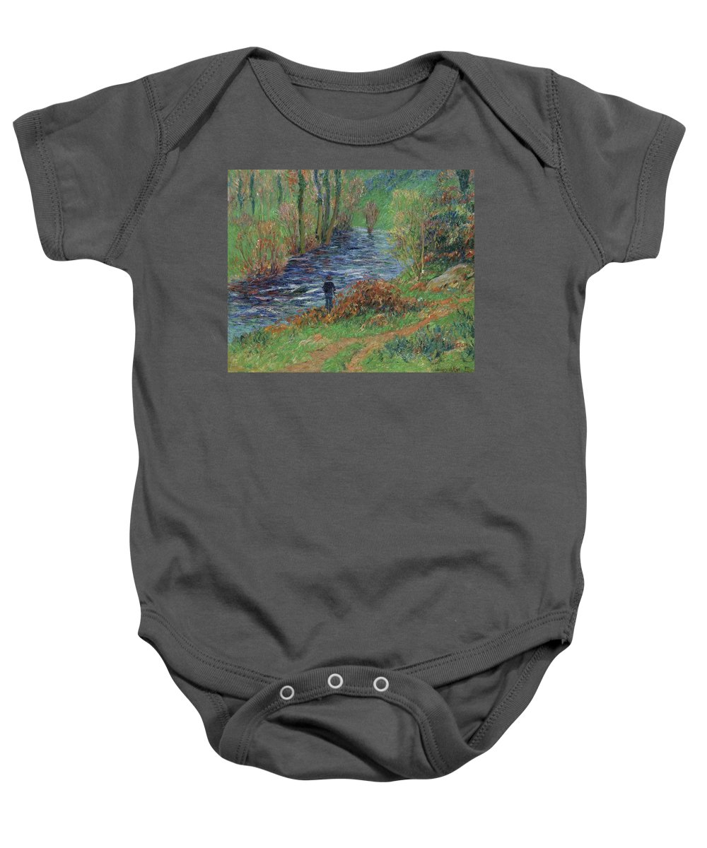 Fisher On The Bank Of The River Baby Onesie featuring the painting Fisher On The Bank Of The River by Henri Moret