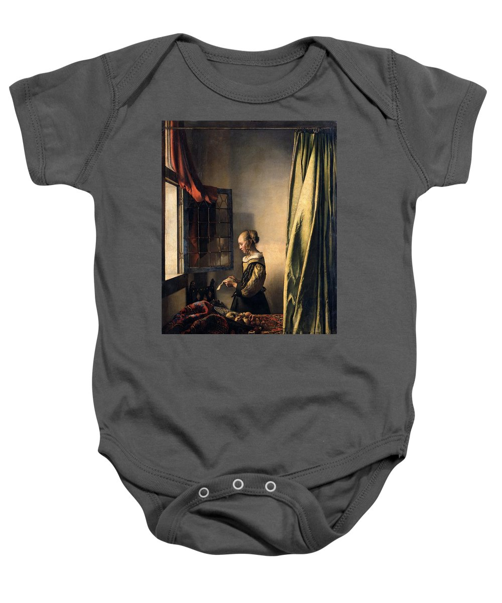 Johannes Vermeer Baby Onesie featuring the painting Girl Reading A Letter By An Open Window by Johannes Vermeer