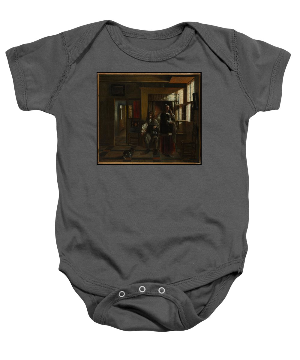 Pieter De Hooch Interior With A Young Couple Baby Onesie featuring the painting Interior With A Young Couple by Pieter de Hooch