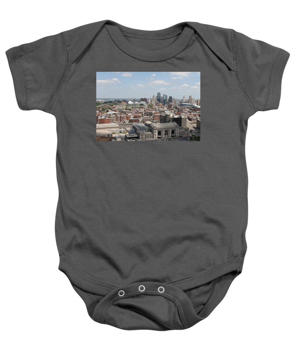 Kansas City Baby Onesie featuring the photograph Kansas City Skyline by Michael Munster