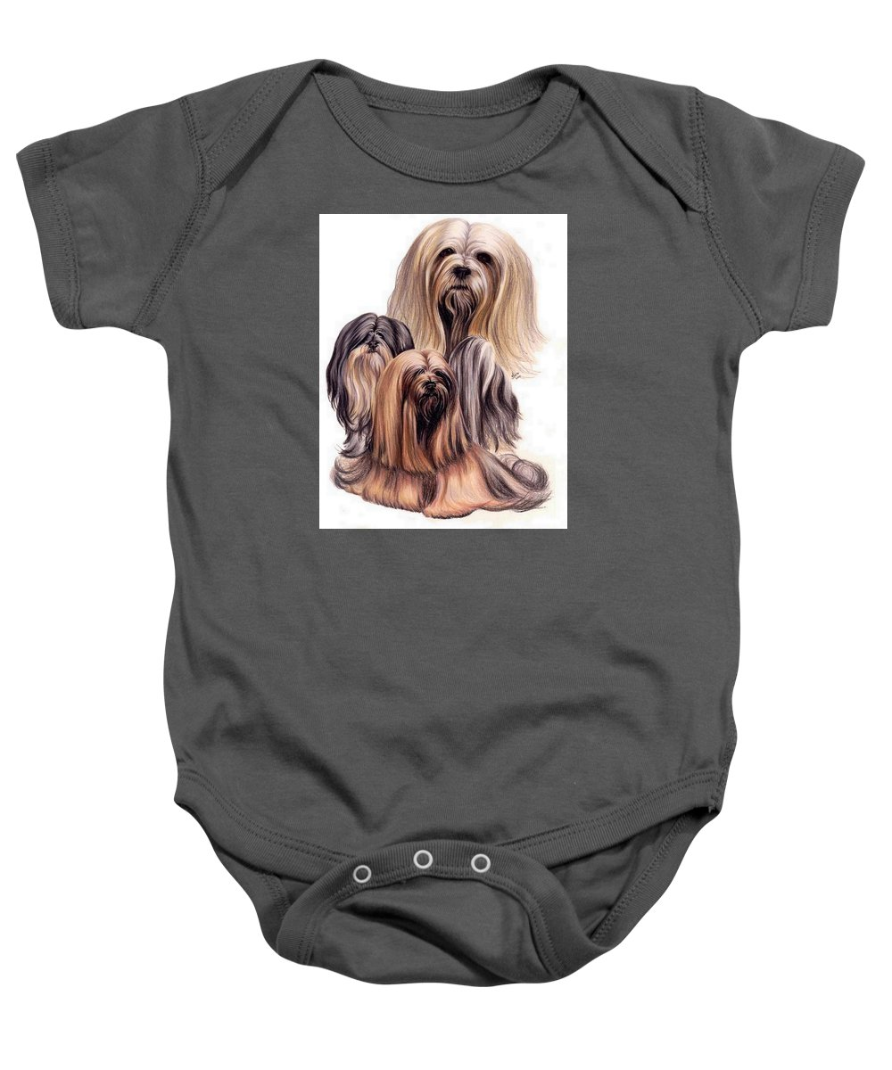 Purebred Baby Onesie featuring the drawing Lhasa Apso Triple by Barbara Keith