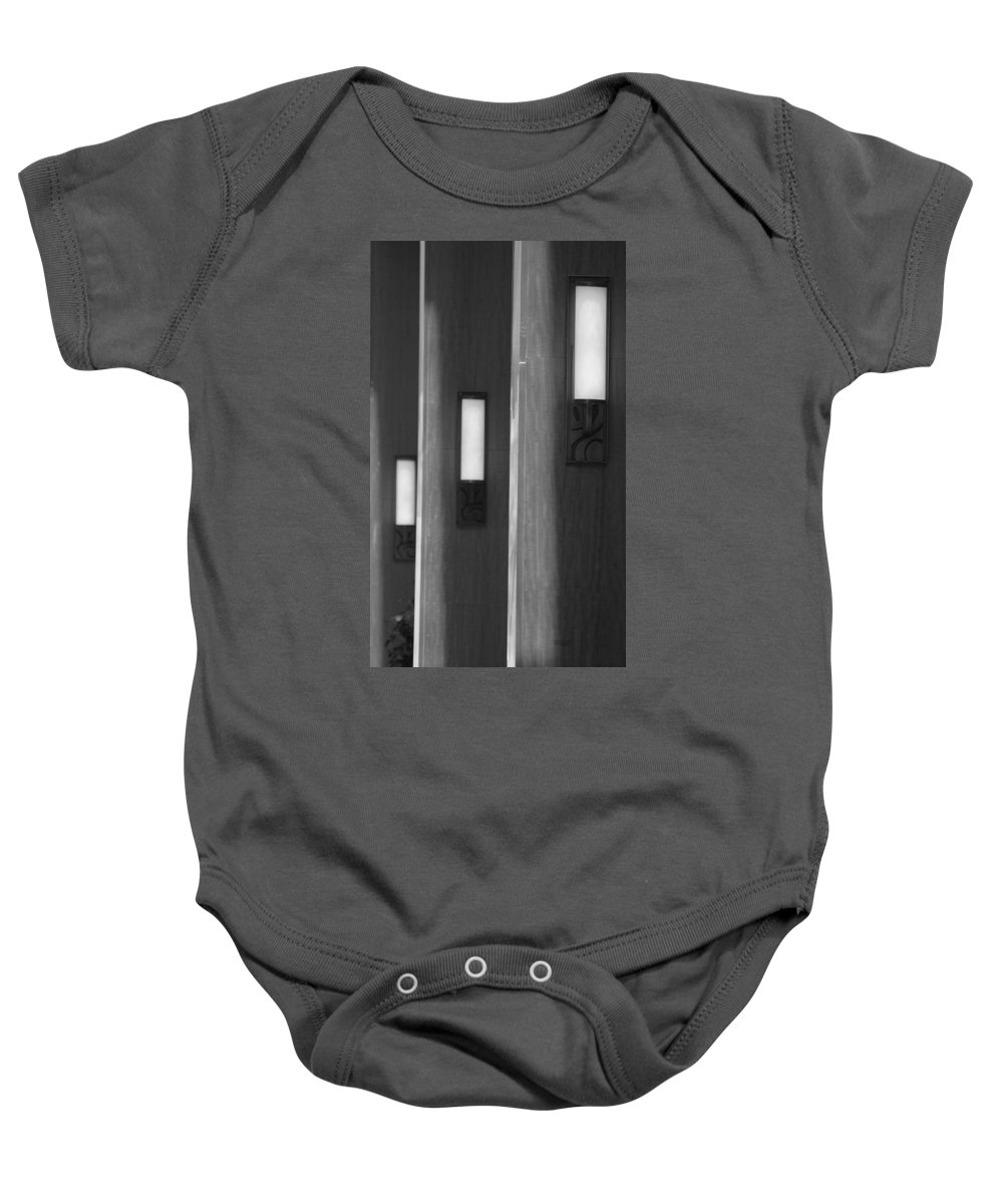 Sconce Baby Onesie featuring the photograph 3 Lighted Wall Sconce by Rob Hans