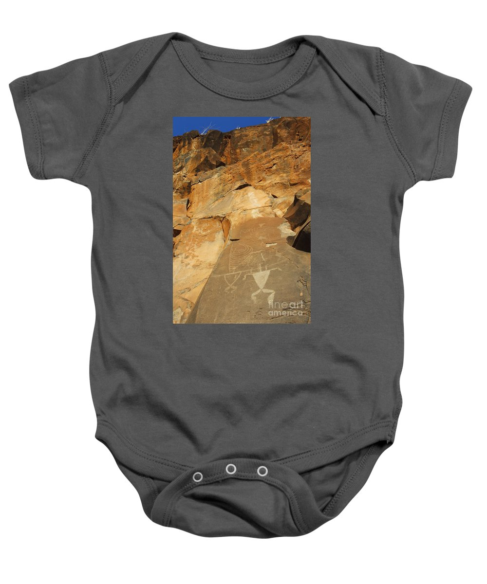 Ancient Baby Onesie featuring the photograph Olowalu Petroglyphs by MakenaStockMedia