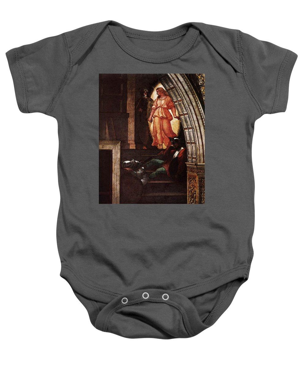 Raphael The Liberation Of St Peter Baby Onesie featuring the digital art Raphael The Liberation Of St Peter by PixBreak Art