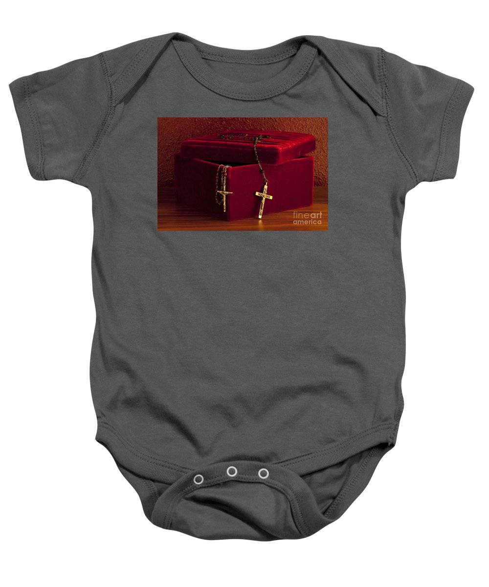 Catholic Baby Onesie featuring the photograph Red Velvet Box With Cross And Rosary by Jim Corwin