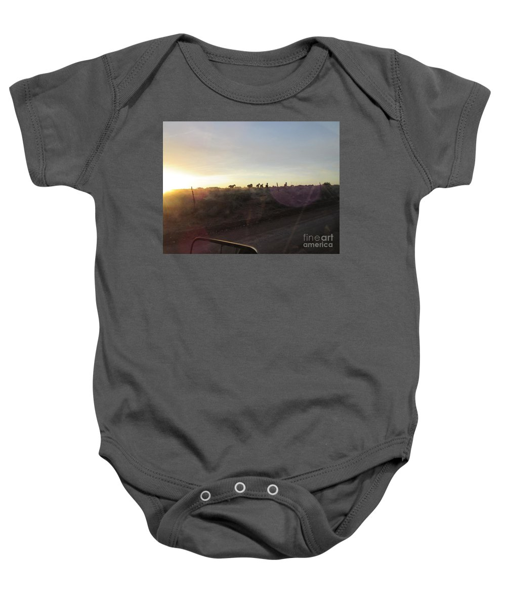 Sunset Baby Onesie featuring the photograph Sunset Horses by Frederick Holiday