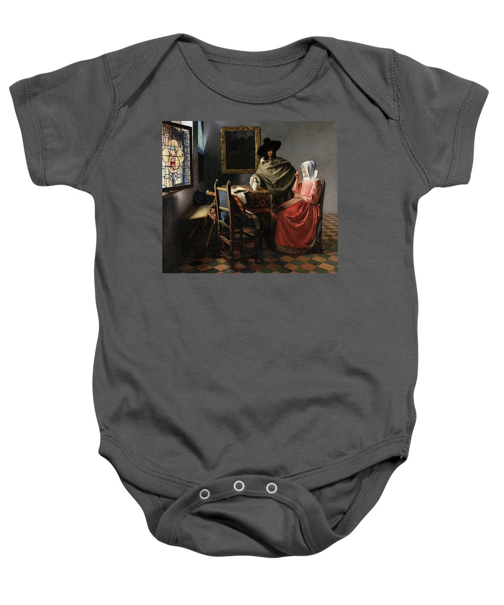 The Glass Of Wine Baby Onesie featuring the painting The Glass Of Wine by Johannes Vermeer