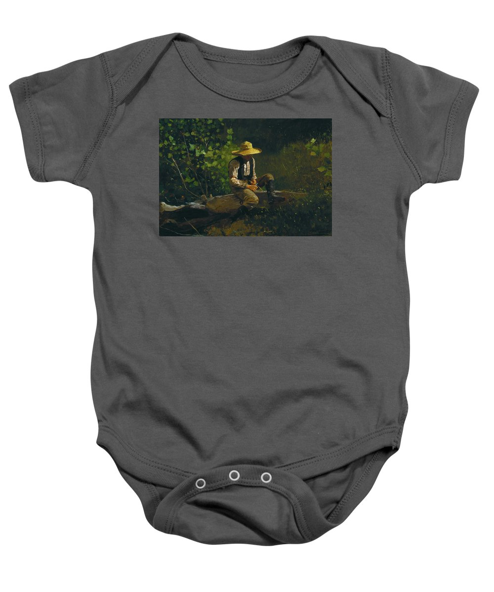 The Whittling Boy By Winslow Homer Baby Onesie featuring the painting The Whittling Boy by Winslow Homer