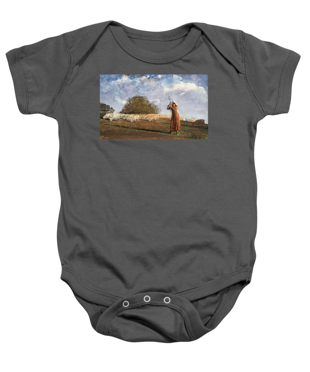 The Young Shepherdess By Winslow Homer Baby Onesie featuring the painting The Young Shepherdess by Winslow Homer