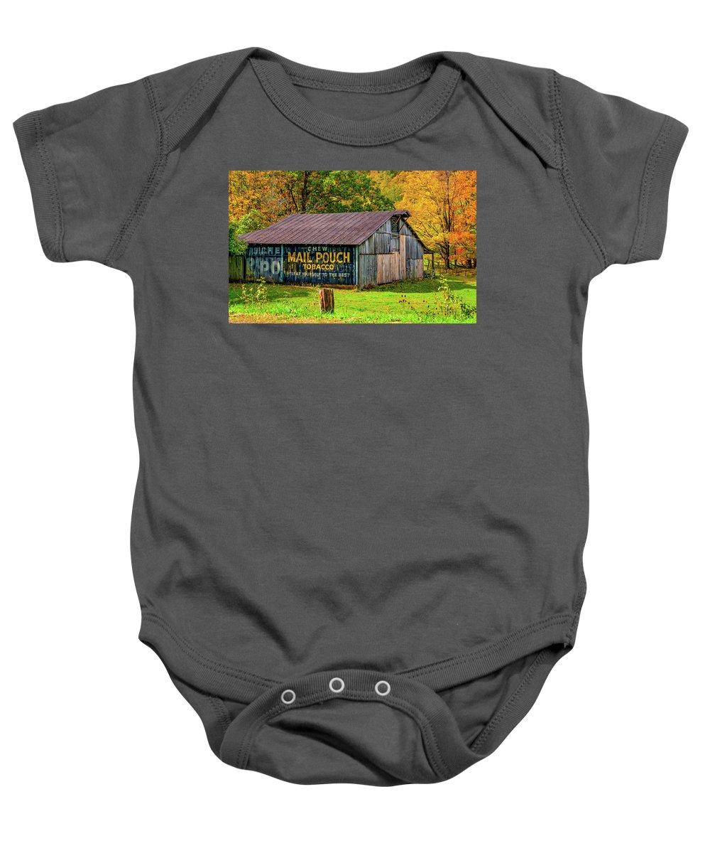 West Virginia Baby Onesie featuring the photograph West Virginia Barn by Steve Harrington