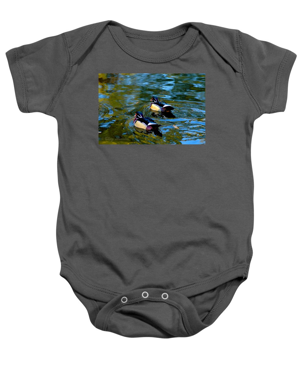 Clay Baby Onesie featuring the photograph Wood Duck by Clayton Bruster