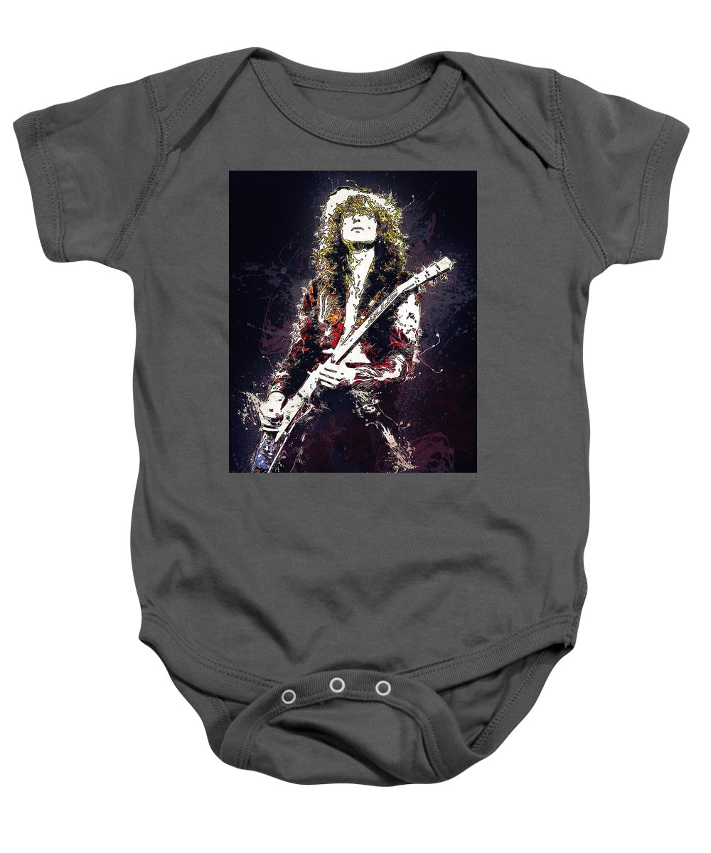 Jimmy Page Baby Onesie featuring the digital art Jimmy Page. Led Zeppelin. by Elizabeth Simon