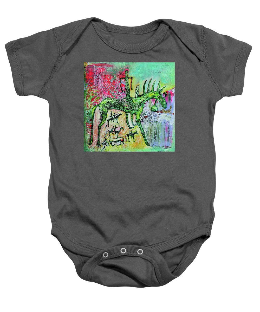 Horseman Composition Baby Onesie featuring the mixed media 100x100 Cm. by Chadraabal Adiyabazar
