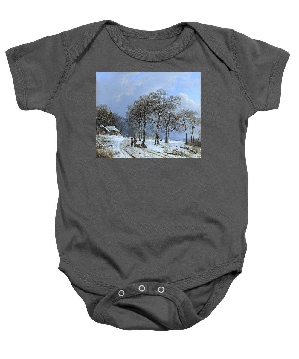 Koekkoek Baby Onesie featuring the painting Winterlandschap by MotionAge Designs