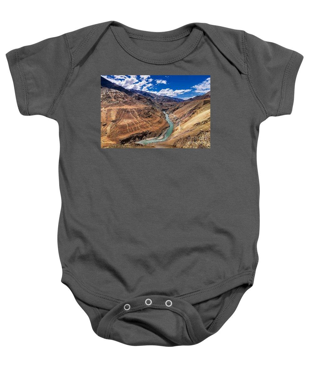 Zanskar River Trek Baby Onesie featuring the photograph Zanskar River Ladakh Jammu And Kashmir India by Rudra Narayan Mitra