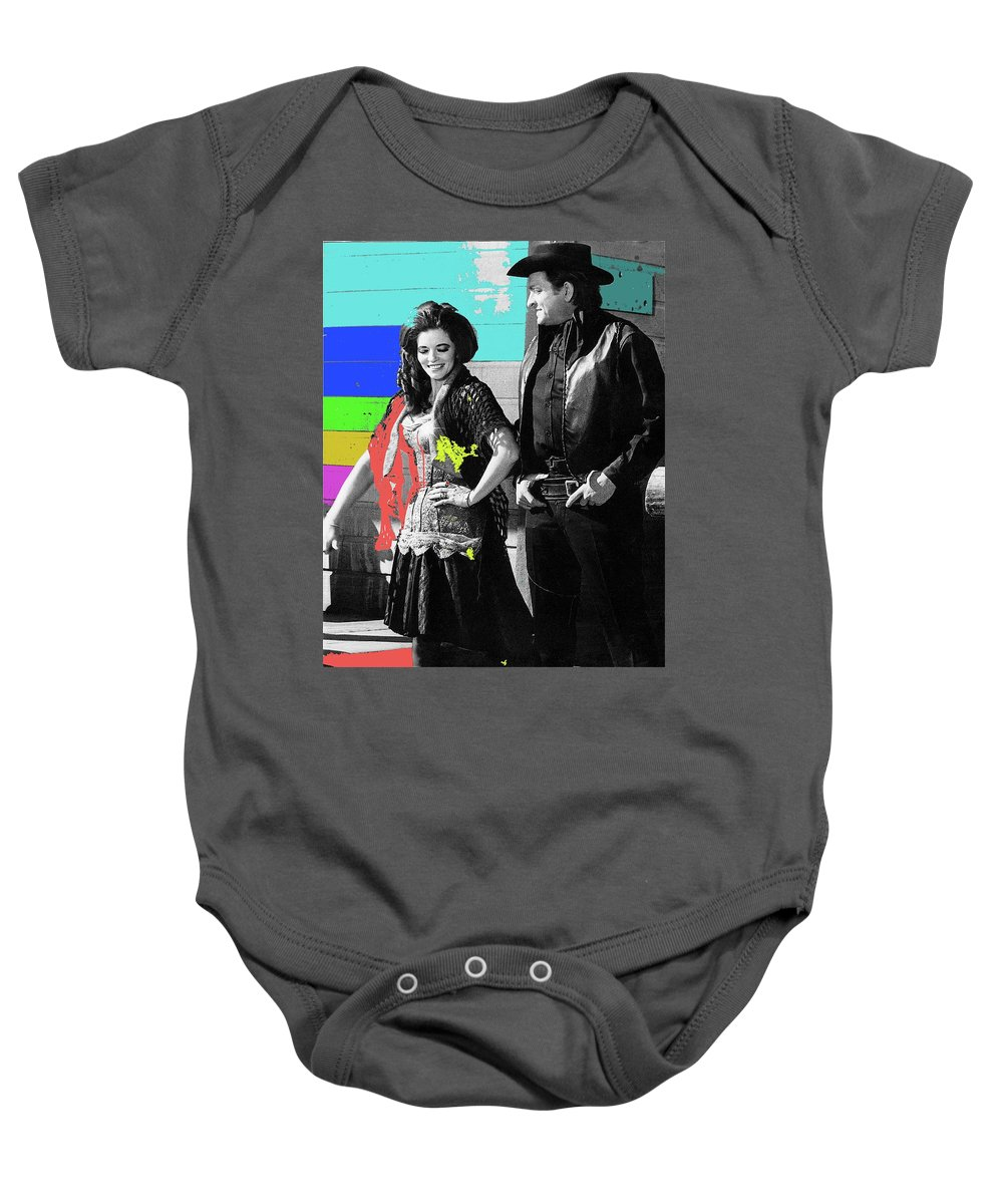 June Carter Cash Johnny Cash In Costume Old Tucson Az 1971-2008 Baby Onesie featuring the photograph June Carter Cash Johnny Cash In Costume Old Tucson Az 1971-2008 by David Lee Guss