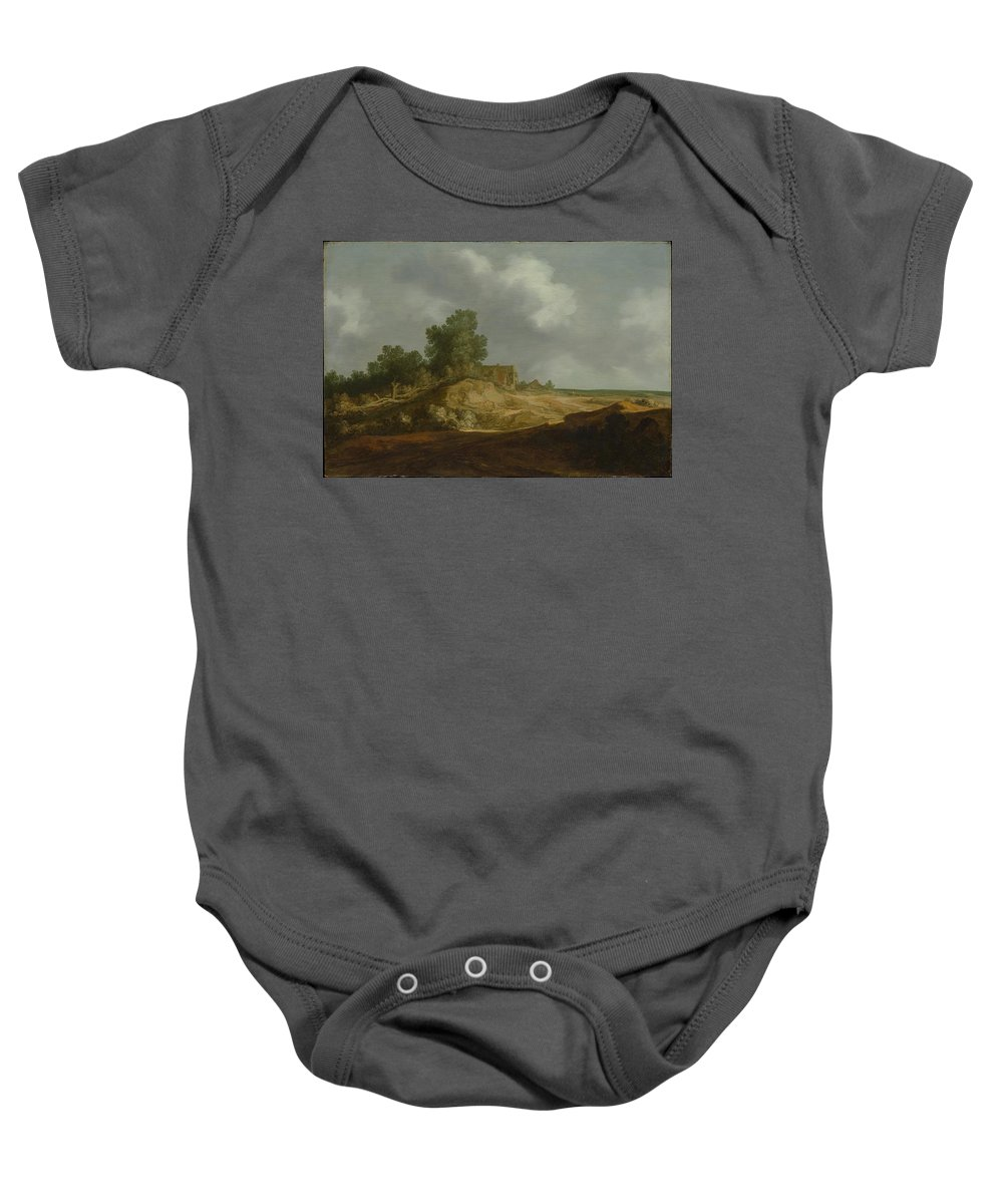 Pieter De Molijn Landscape With A Cottage Baby Onesie featuring the painting Landscape With A Cottage by Pieter de Molijn