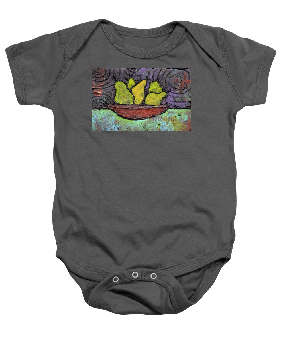 Pears Baby Onesie featuring the painting 5 Pears In A Copper Bowl by Wayne Potrafka