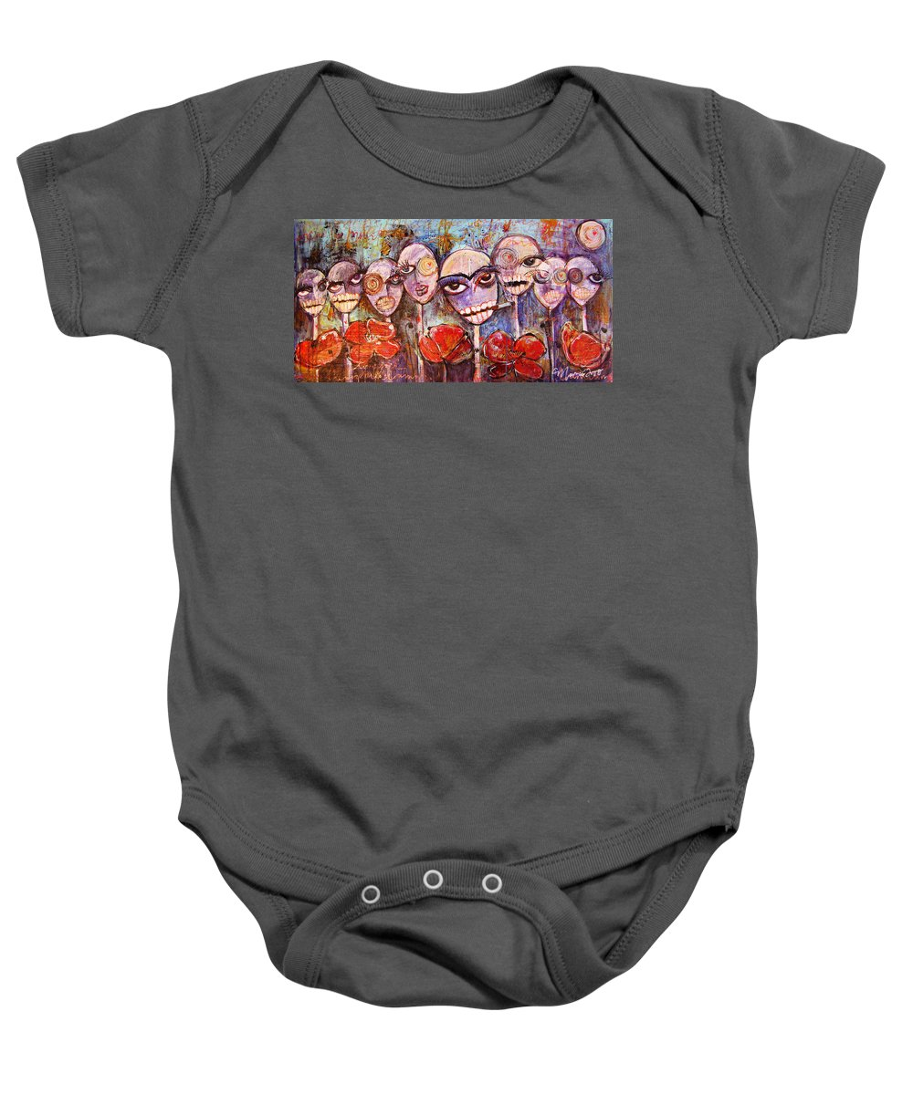 Dia De Los Muertos Baby Onesie featuring the painting 5 Poppies For The Dead by Laurie Maves ART