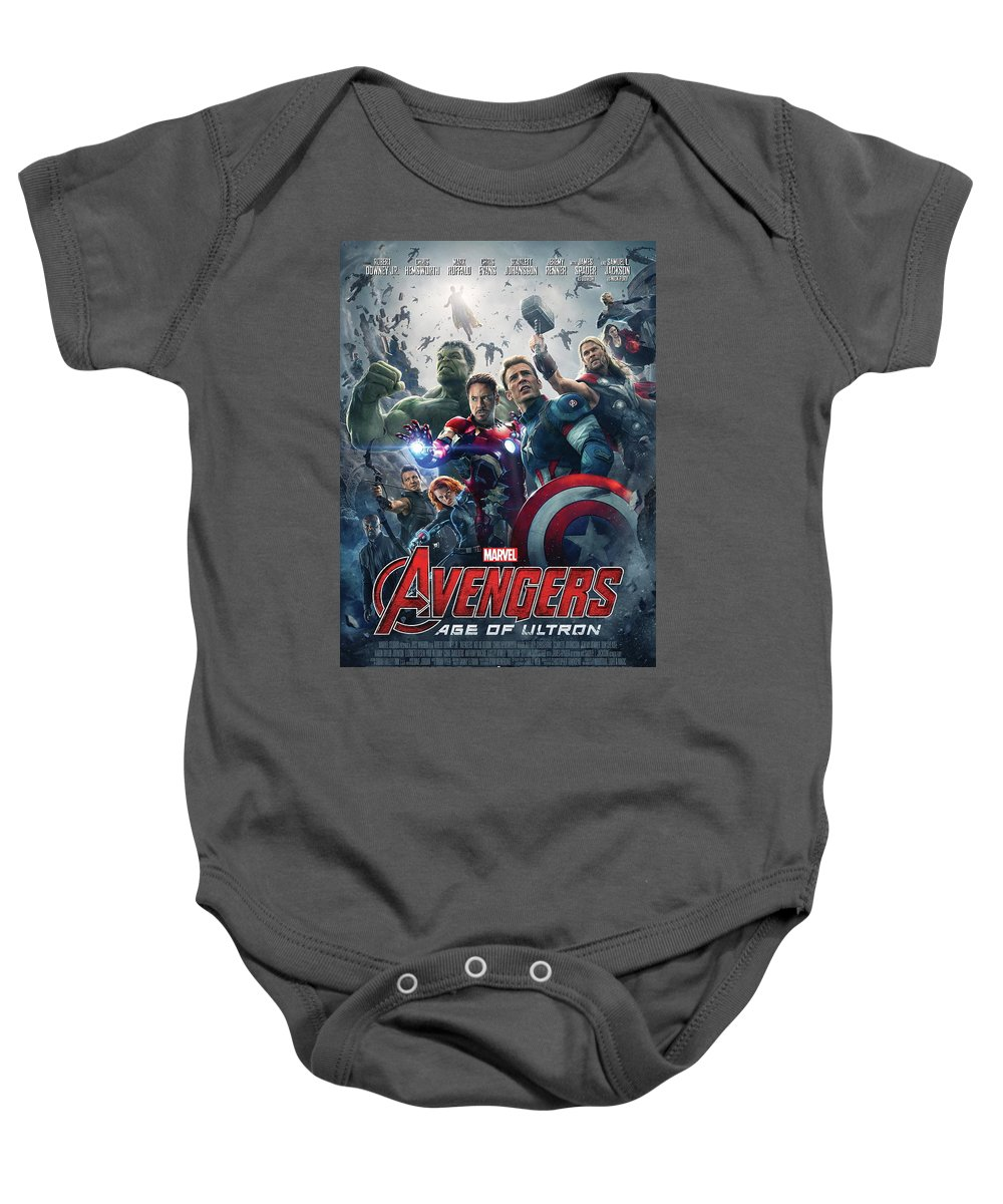 Iron Man Baby Onesie featuring the digital art The Avengers Age Of Ultron 2015 by Geek N Rock