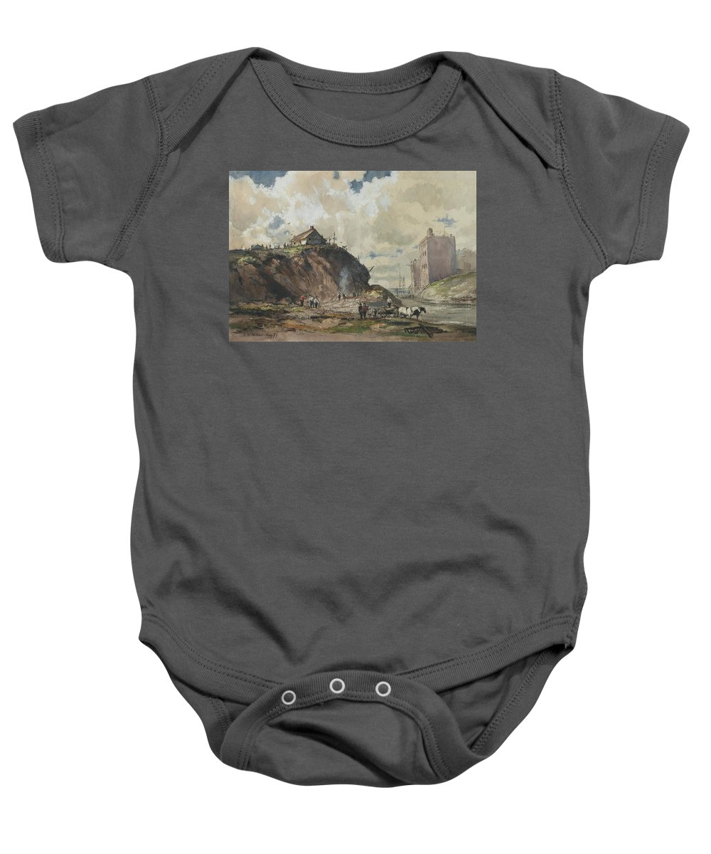 Charles Henry Miller (american Baby Onesie featuring the painting The Way The City Is Built by Charles Henry
