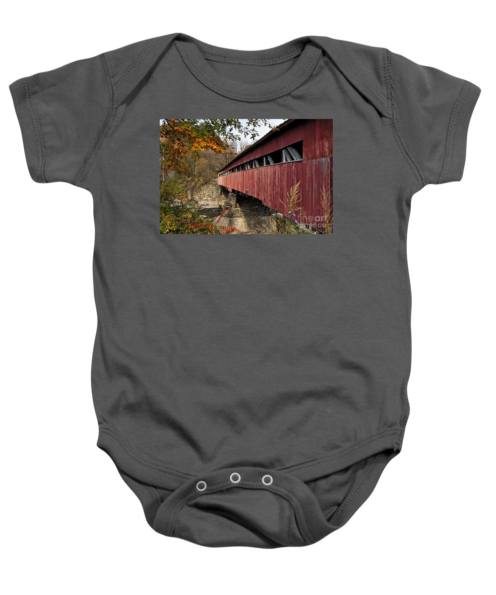 New England Baby Onesie featuring the photograph Vermont Covered Bridge by John Greim