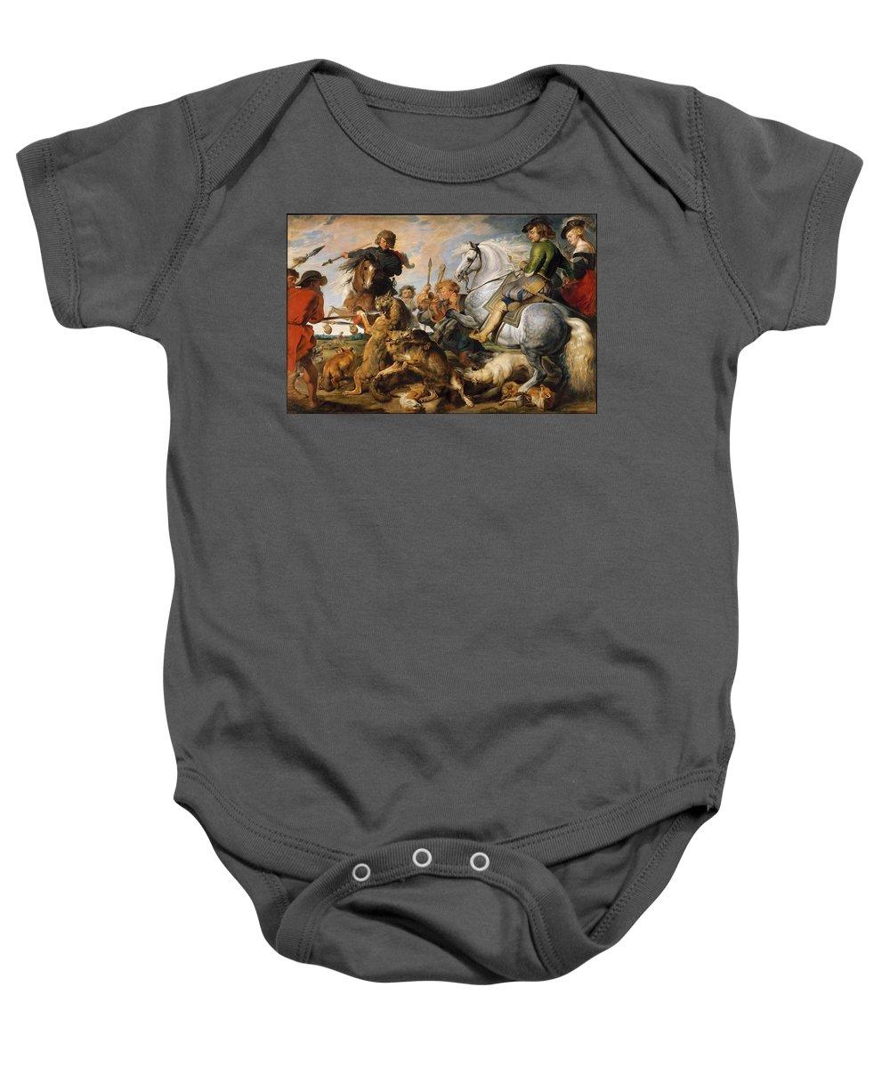Peter Paul Rubens Wolf And Fox Hunt Baby Onesie featuring the painting Wolf And Fox Hunt by Peter Paul Rubens