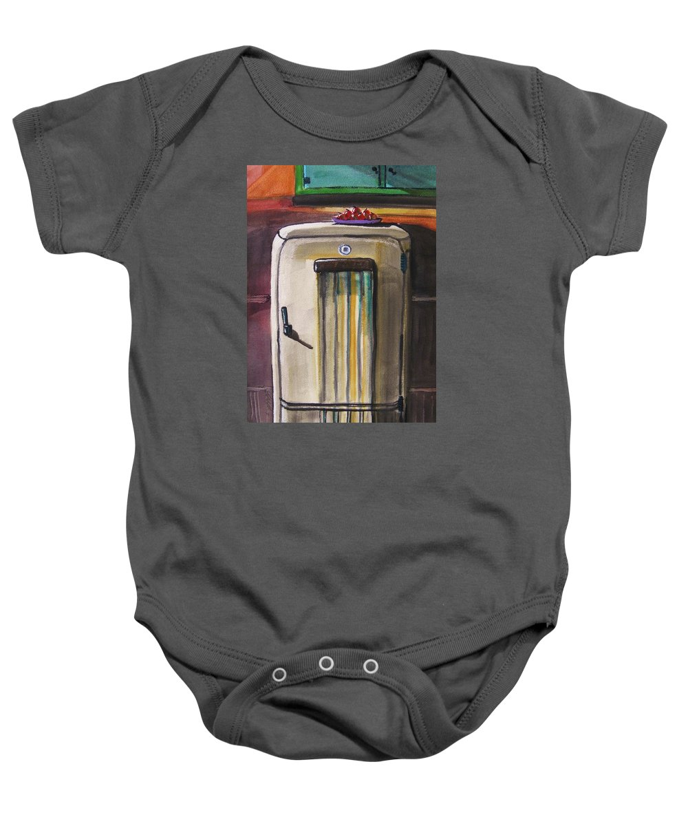 Refrigerator Baby Onesie featuring the painting 50's Update by John Williams
