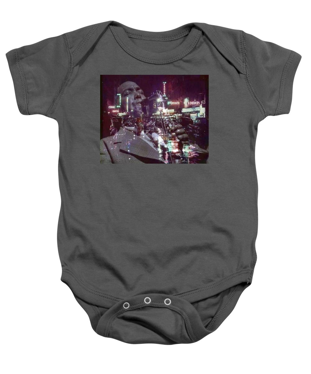 Baby Onesie featuring the digital art 52nd Street Bird by Aurwin Nicholas