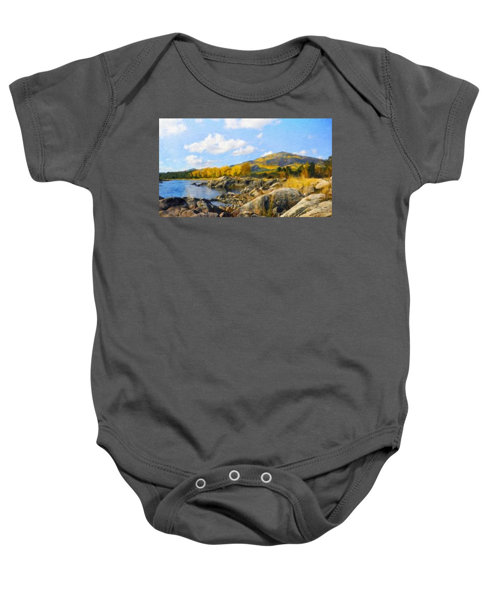 Landscape Baby Onesie featuring the painting Nature Pictures Of Oil Paintings Landscape by World Map