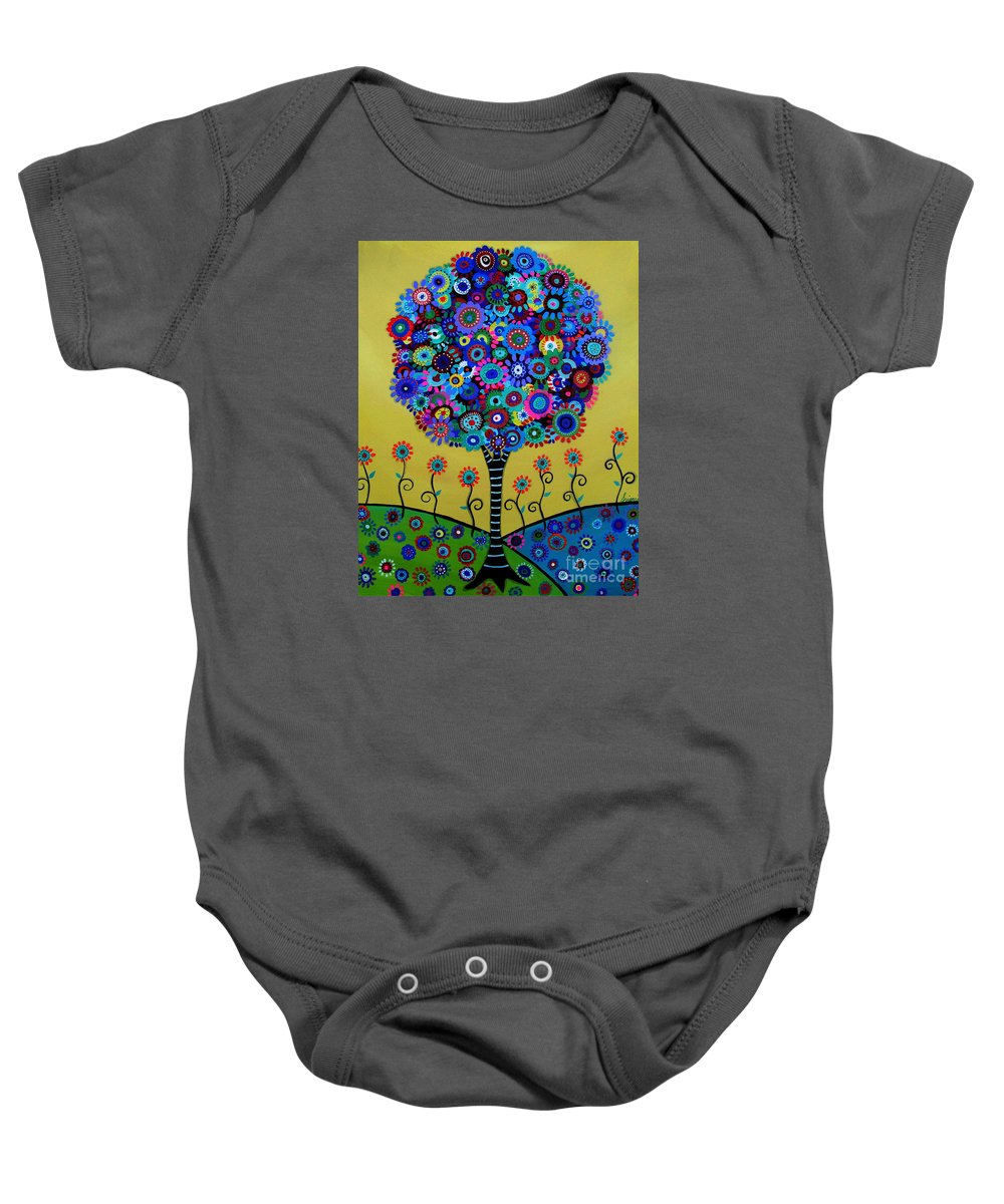 Tree Baby Onesie featuring the painting Tree Of Life by Pristine Cartera Turkus