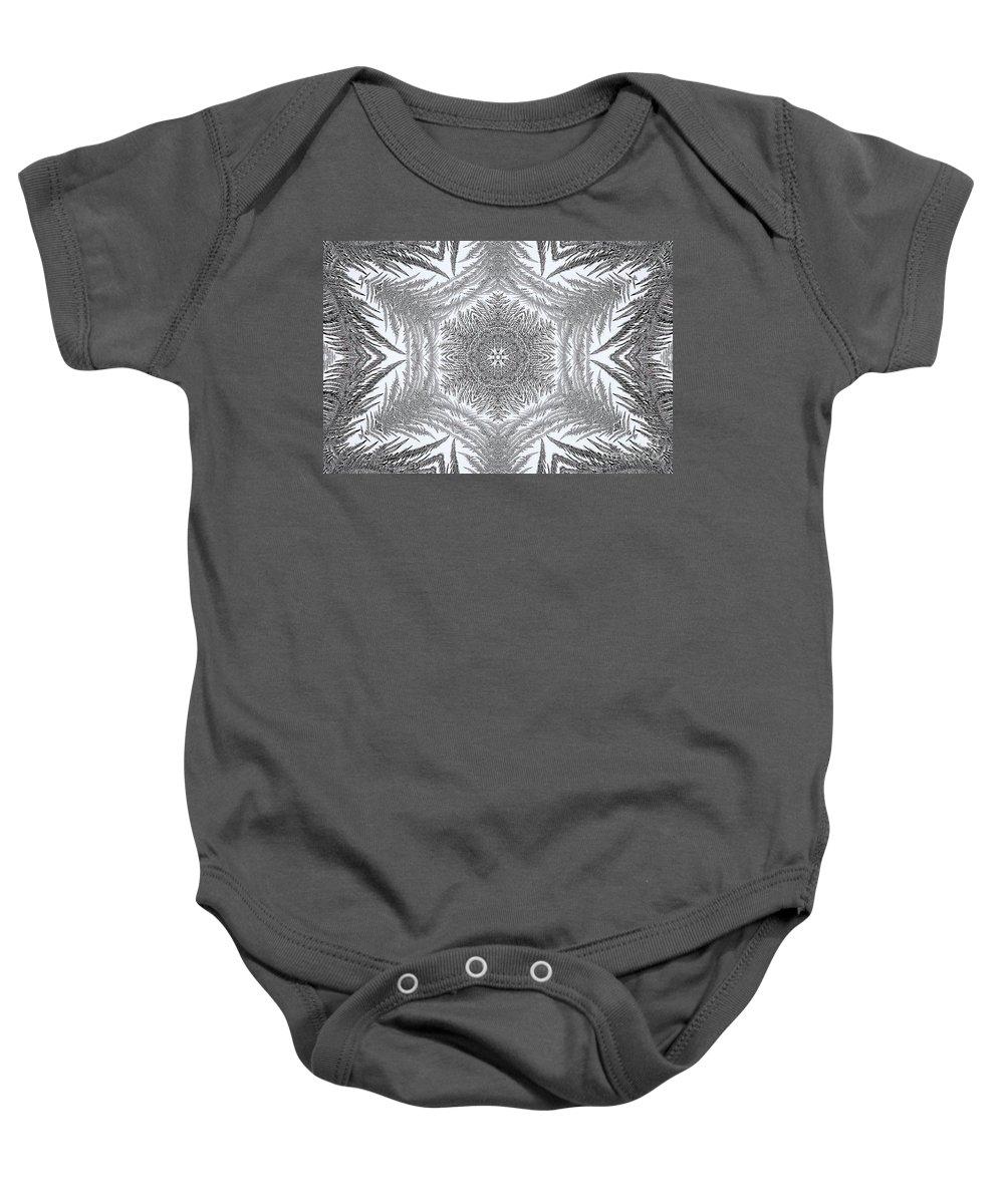 Mccombie Baby Onesie featuring the digital art Fern Frost Mandala by J McCombie