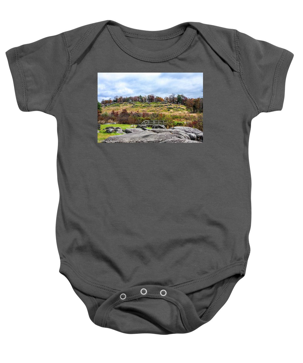 This Is A Photo Of Little Round Top From The Base Looking Up Baby Onesie featuring the photograph Little Round Top by William Rogers