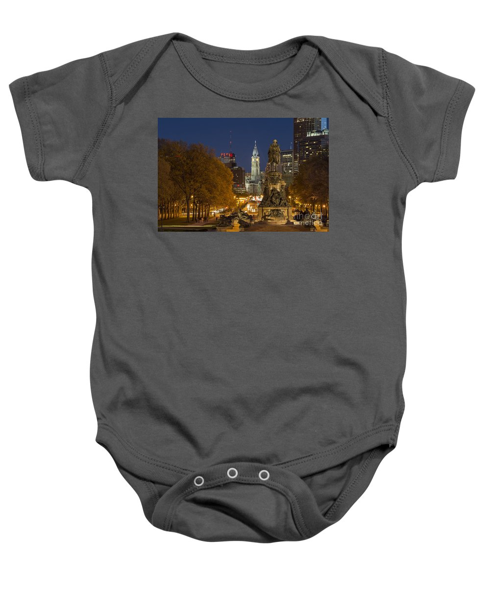 Ben Franklin Parkway Baby Onesie featuring the photograph Philadelphia Skyline by John Greim
