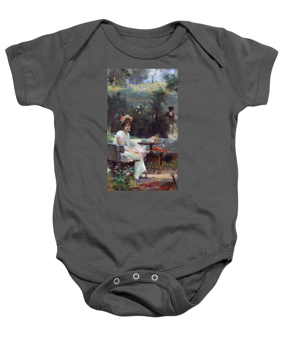 Marcus Stone 1840 - 1921 Baby Onesie featuring the painting Secret Admirer by MotionAge Designs