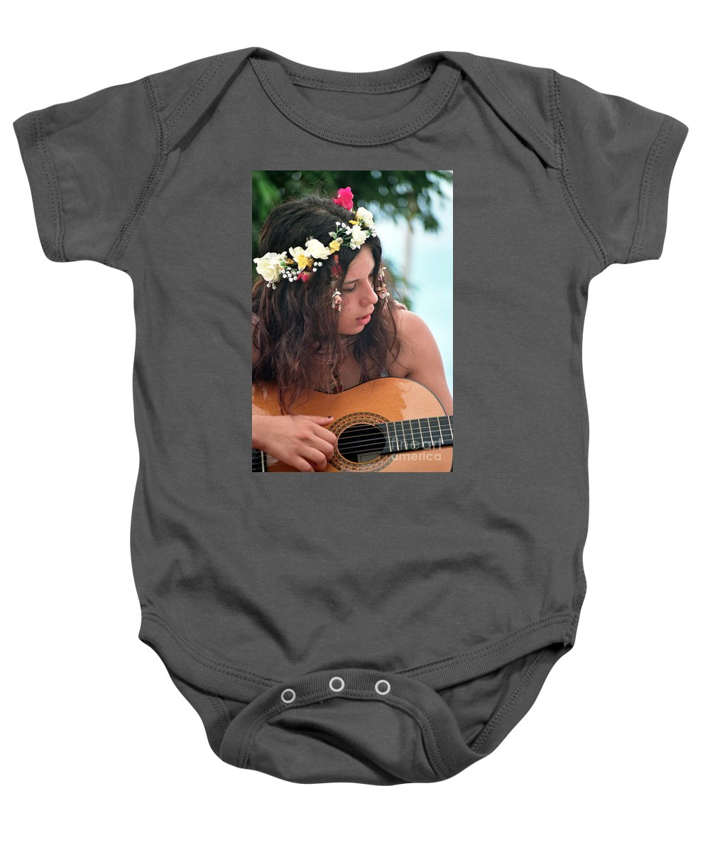 New Age Baby Onesie featuring the photograph 60's Flower Girl by Ilan Rosen