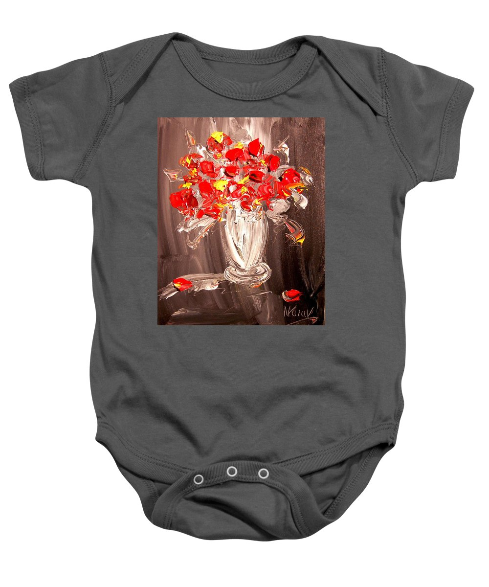 Impressionist Framed Prints Baby Onesie featuring the mixed media Flowers by Mark Kazav