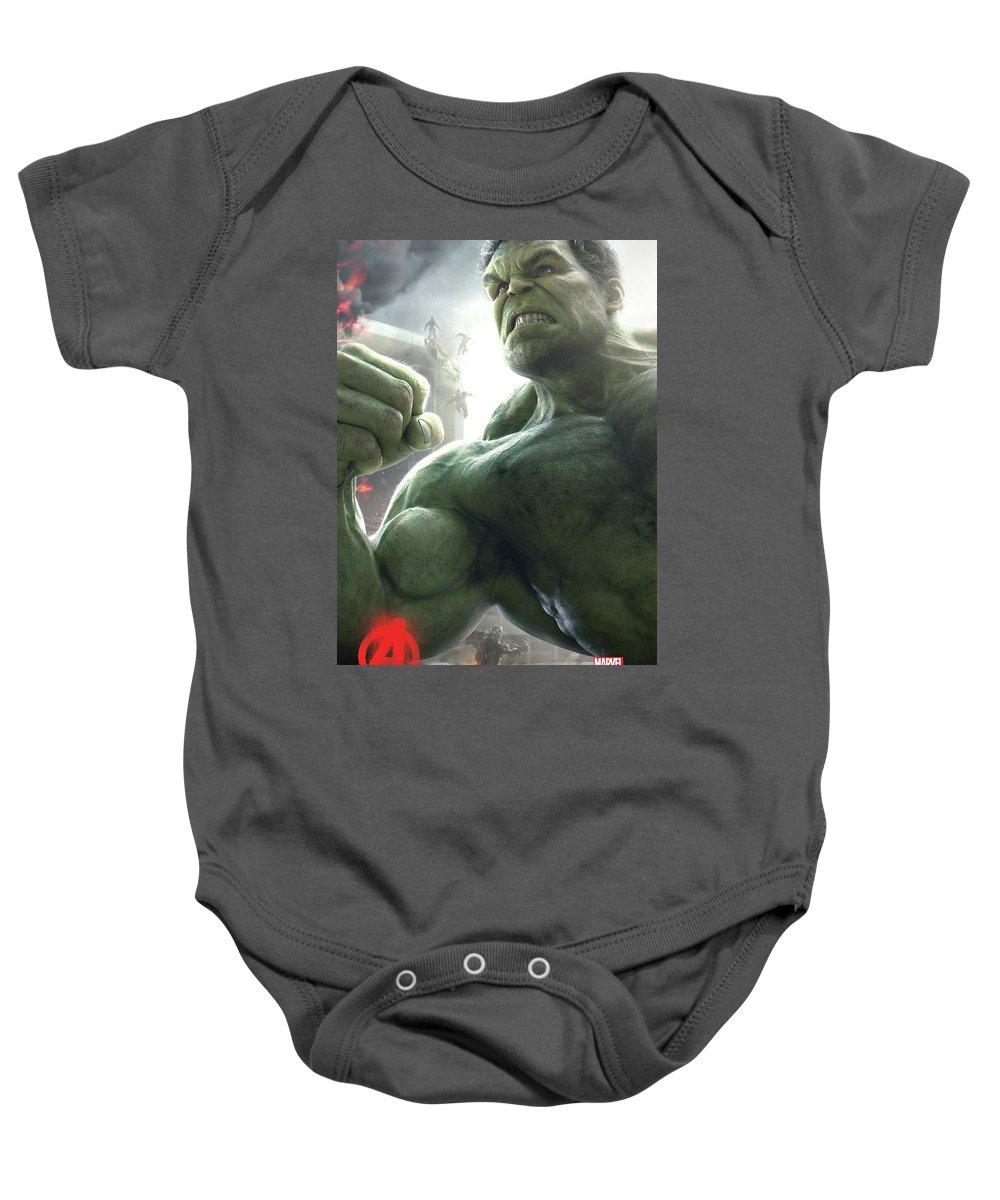 Hulk Baby Onesie featuring the digital art The Avengers Age Of Ultron 2015 by Geek N Rock