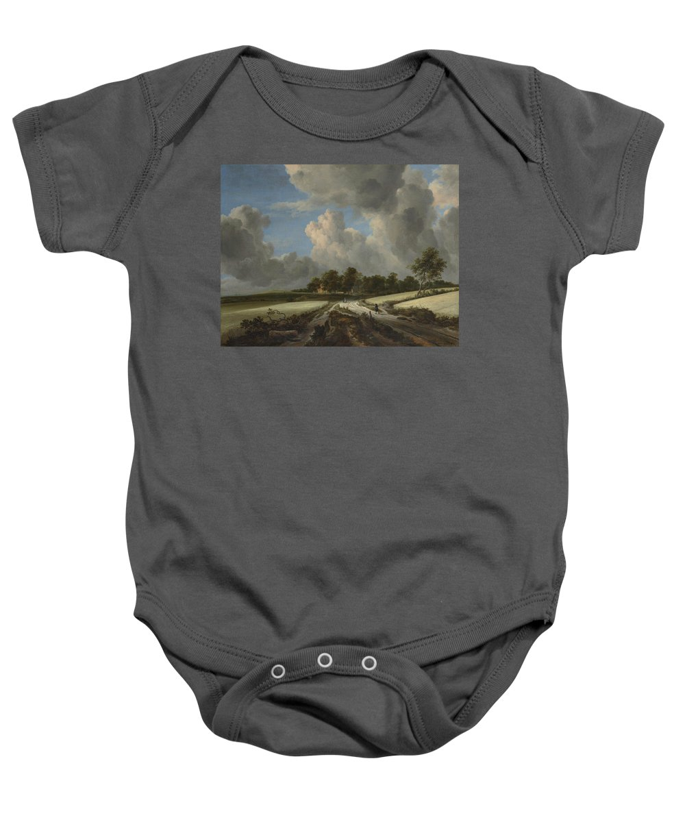 Wheat Fields Baby Onesie featuring the painting Wheat Fields by Jacob van Ruisdael