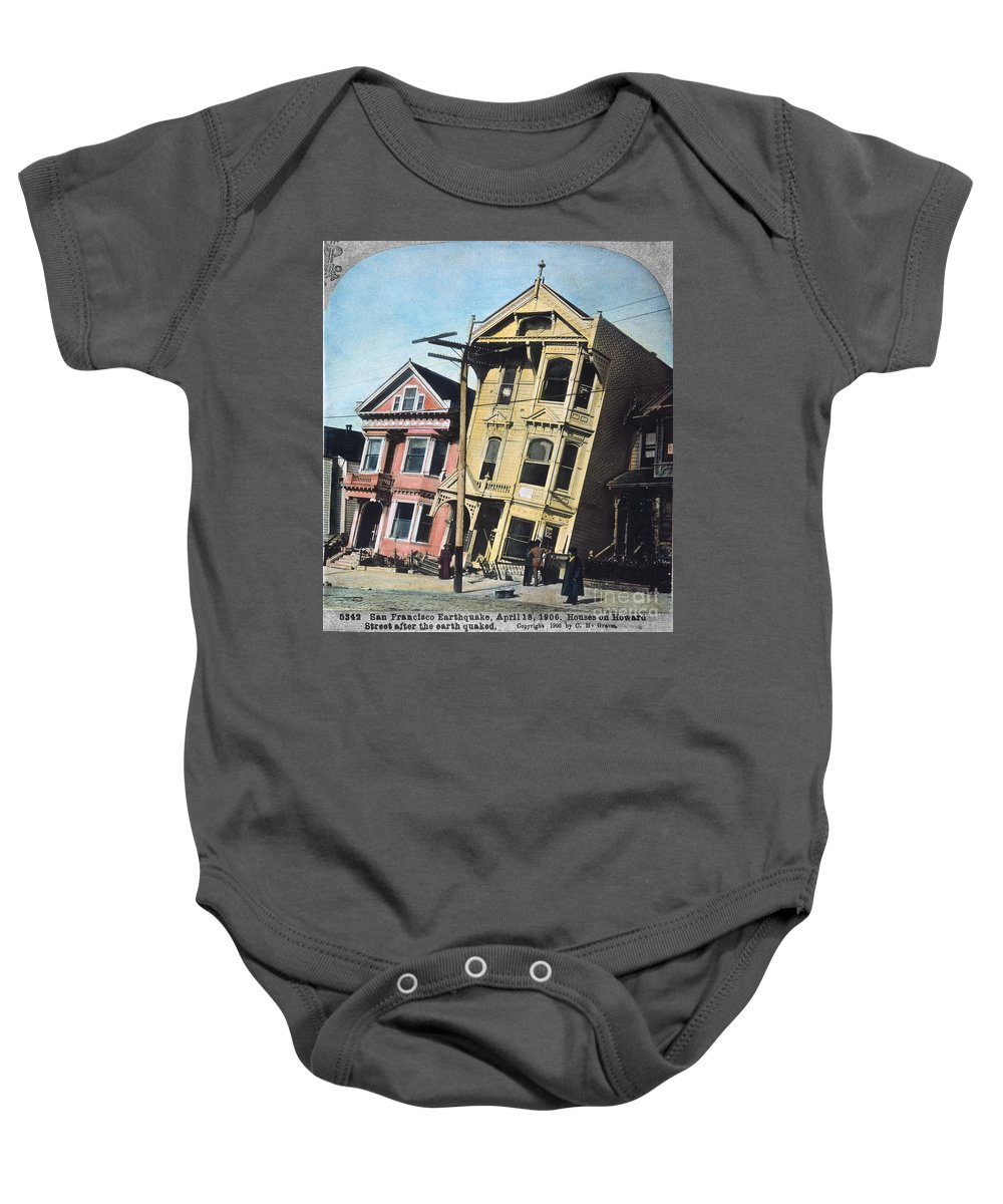 1906 Baby Onesie featuring the photograph San Francisco Earthquake by Granger