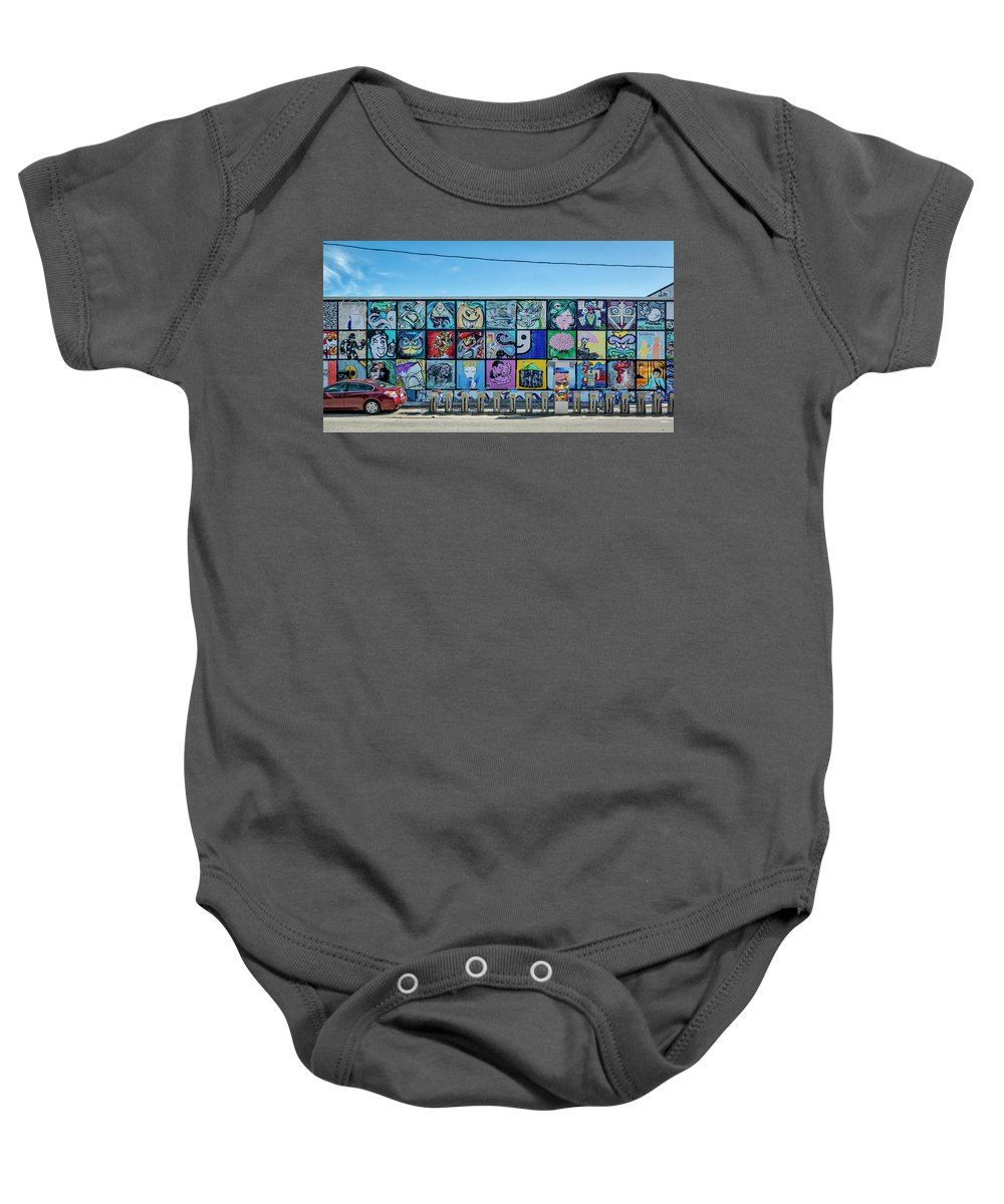 Florida Baby Onesie featuring the photograph 8381-1- Little Havana Mural by David Lange