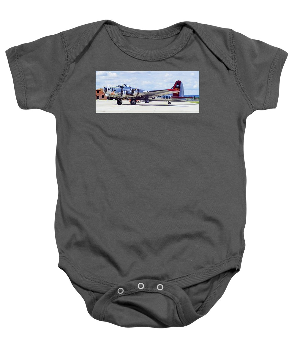 B-17 Bomber Baby Onesie featuring the photograph B-17 Bomber Parking by Mike Wheeler