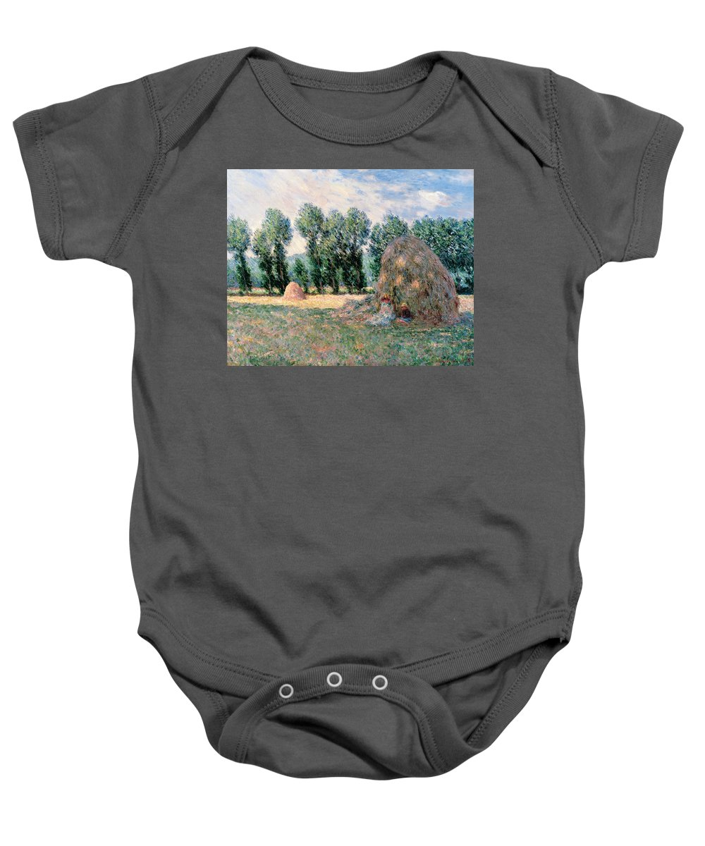 Claude Monet Baby Onesie featuring the painting Haystacks by Claude Monet